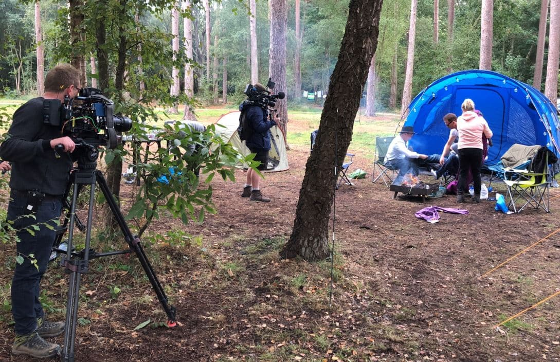 Five celebs have been 'camping it up' at Burnbake for a new TV series.