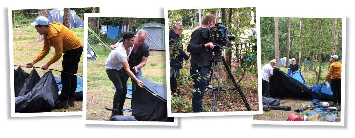 Five celebs have been 'camping it up' at Burnbake for a new TV series. The famous five spent four days filming at Burnbake whilst enjoying Dorset's great outdoors.