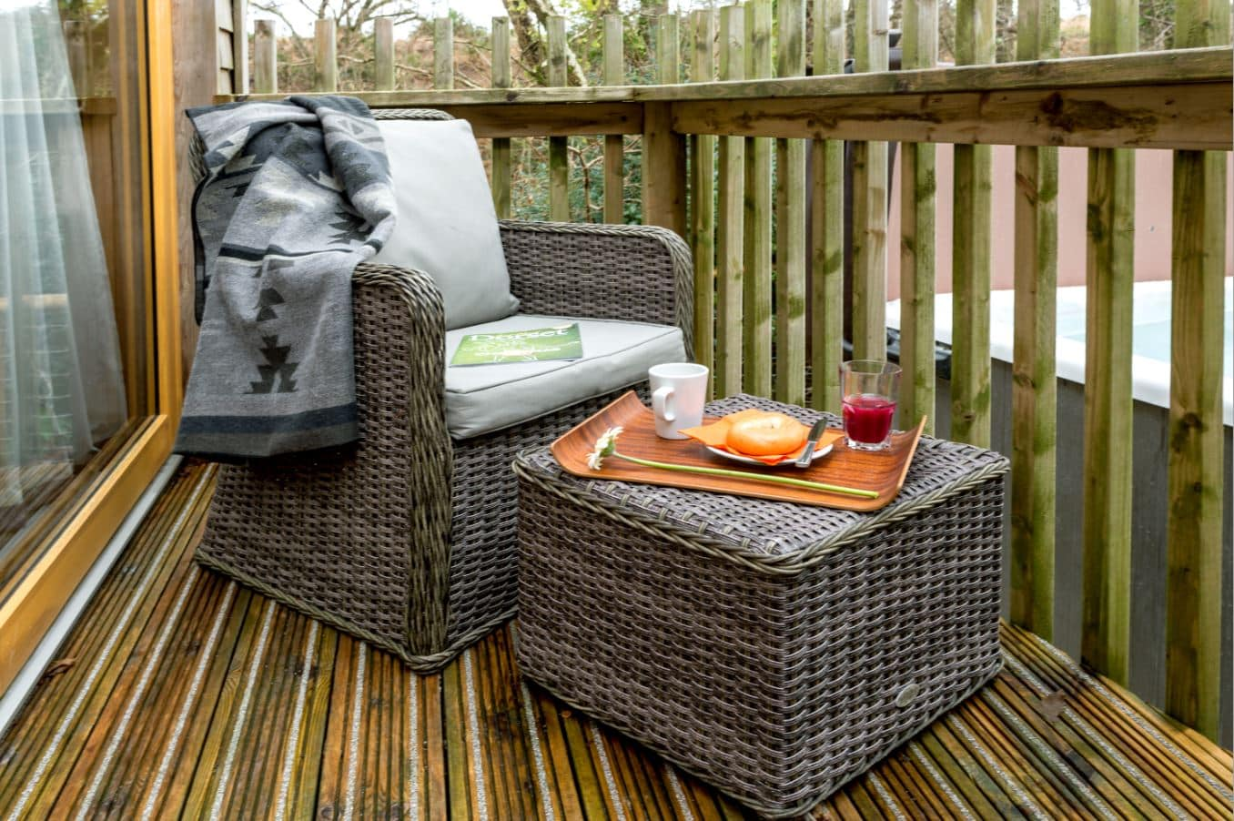 Fully furnished decked terrace complete with your own private bubbling hot tub