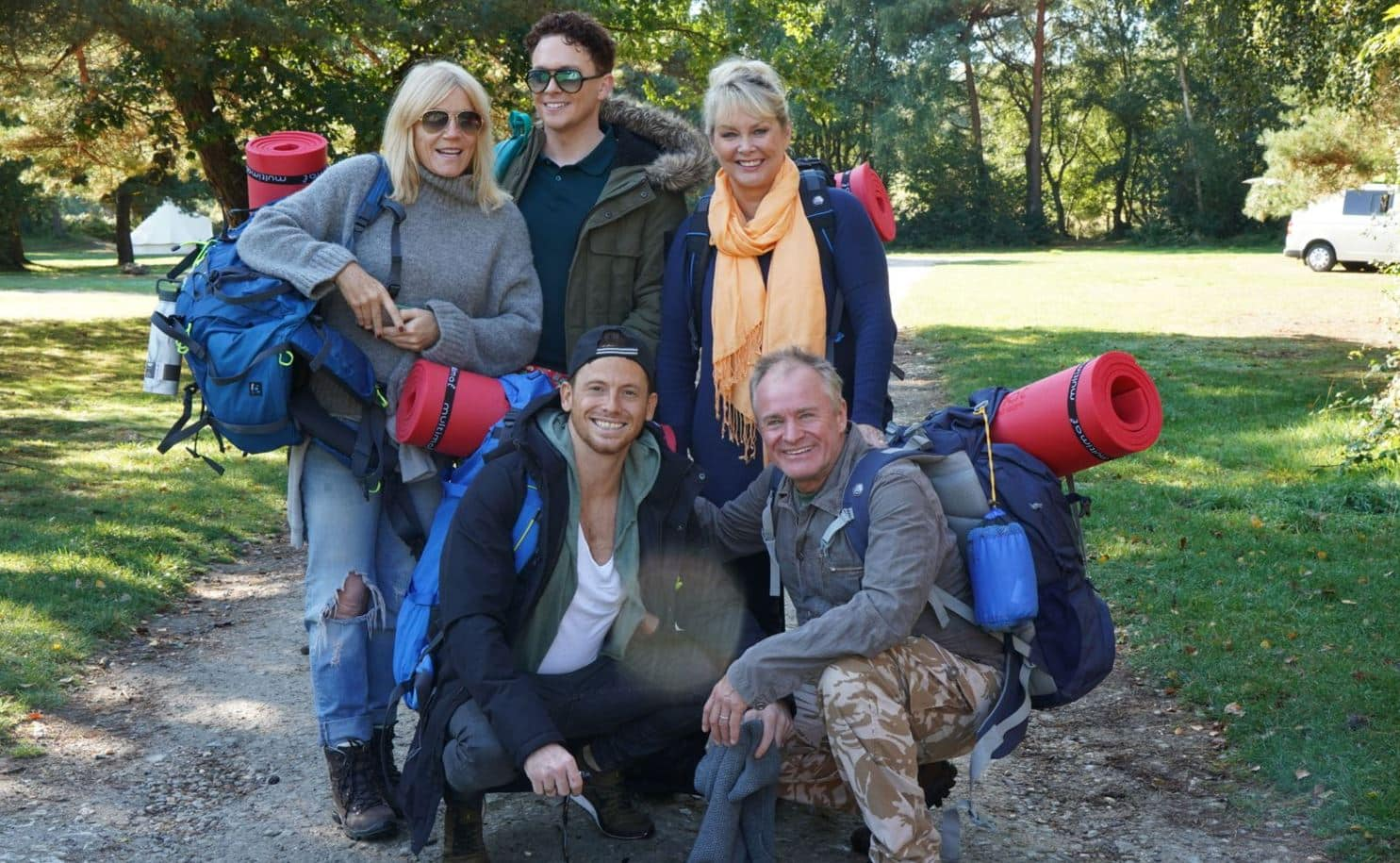 Singer Cheryl Baker, actor and king of the jungle Joe Swash, former EastEnder Michelle Collins and comedians Bobby Davro and Stephen Bailey wave goodbye to their comfy beds and flatscreen TVs for three weeks and embrace the great outdoors and a life under canvas for this new five-part series.