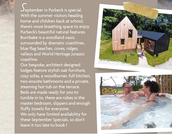 Our bespoke, architect designed lodges feature stylish oak furniture, cosy sofas, a woodburner, full kitchen, two bathrooms and a private, steaming hot tub on the terrace - perfect for a relaxing Autumn getaway...
